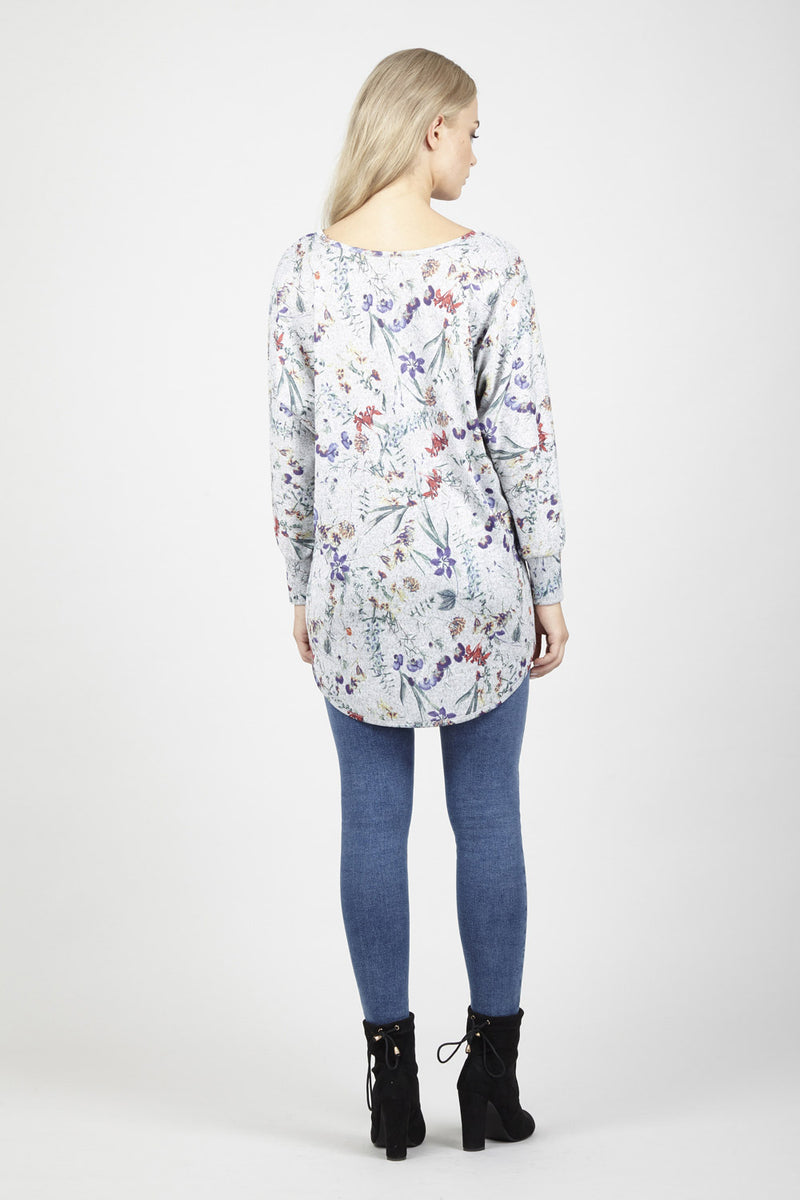 | Floral Dip Hem Top | Izabel London
