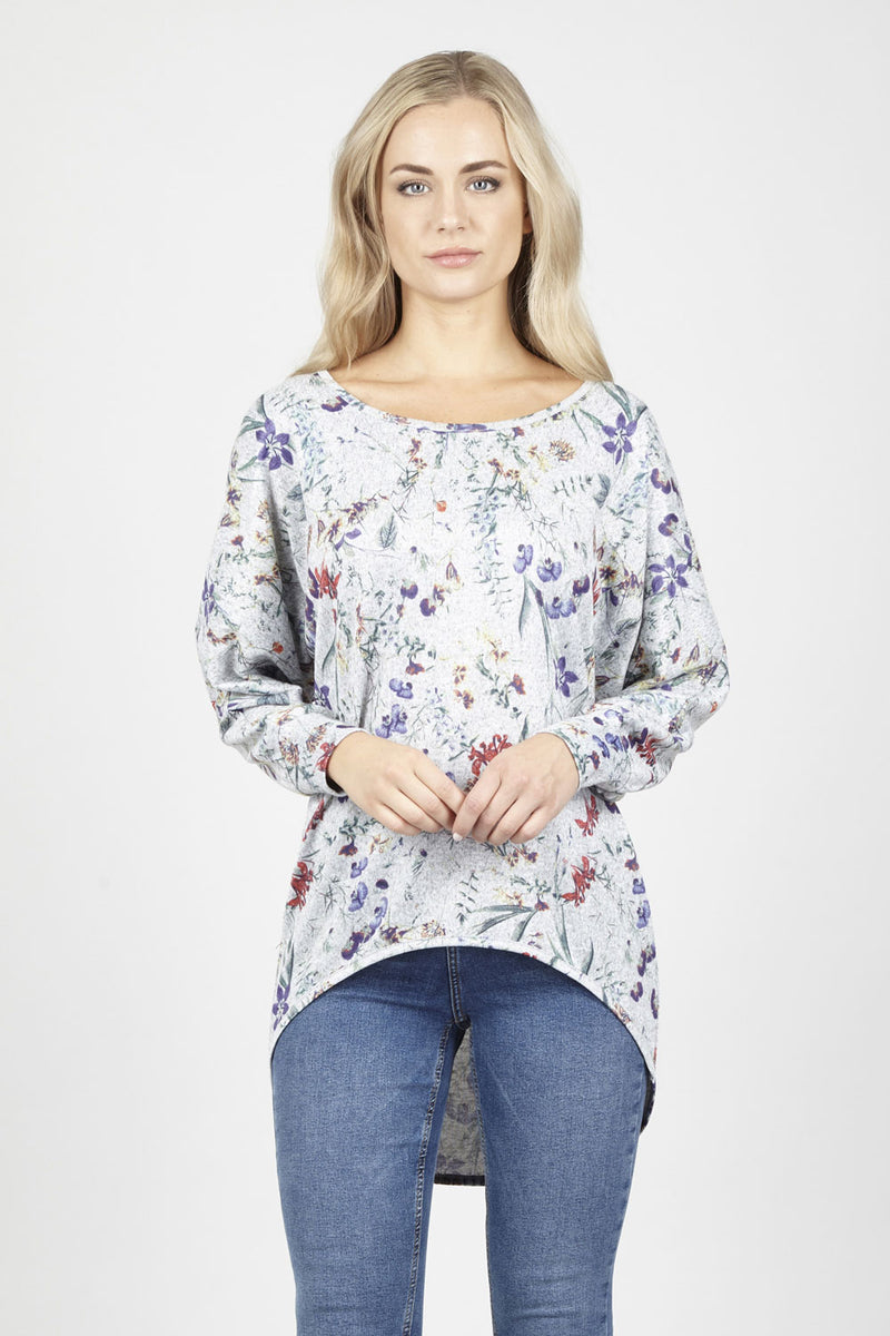 Grey | Floral Dip Hem Top | Izabel London