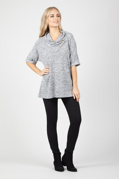 Roll Neck Button Tunic - Izabel London