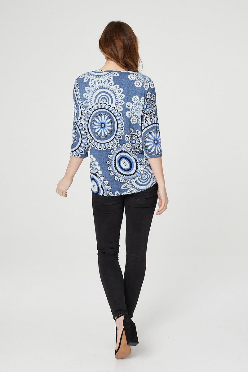 Blue | Mosaic Wrap Front Top