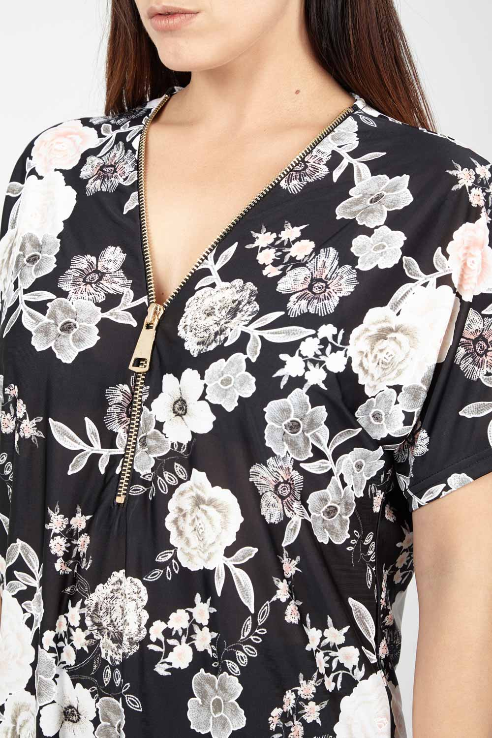 Floral Zip Neck Top - Izabel London