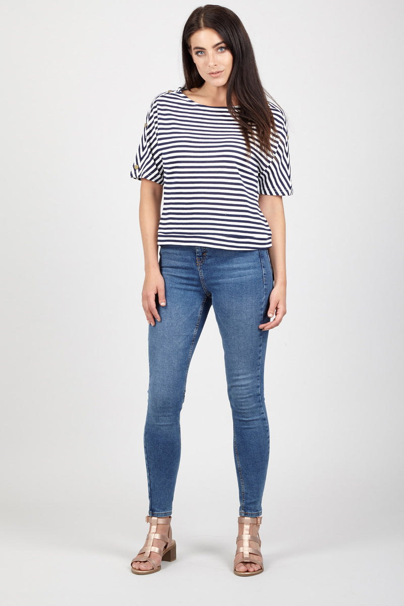 Navy | Striped Casual Tee