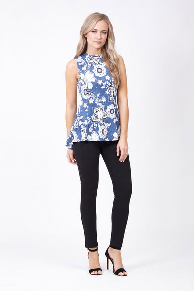 Floral High Neck Top - Izabel London