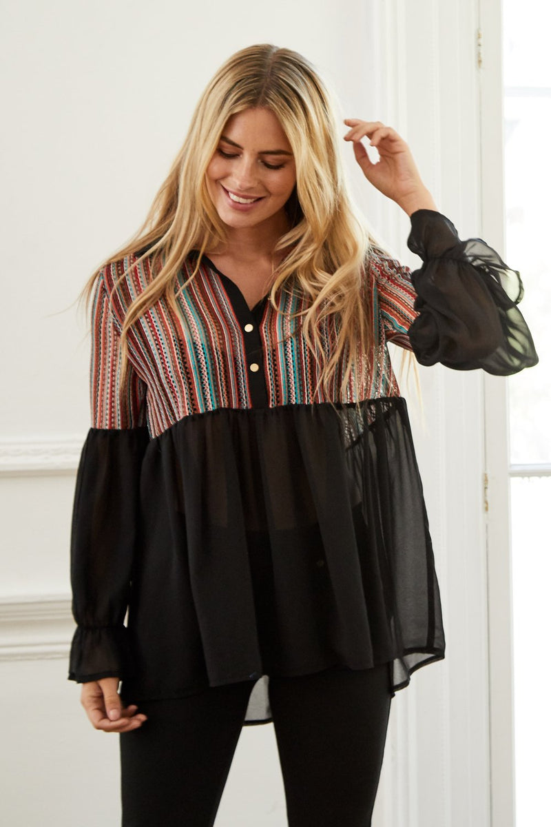 Striped Yoke Shirt - Izabel London