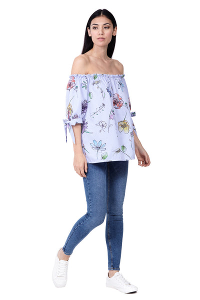 Floral Bardot Top - Izabel London