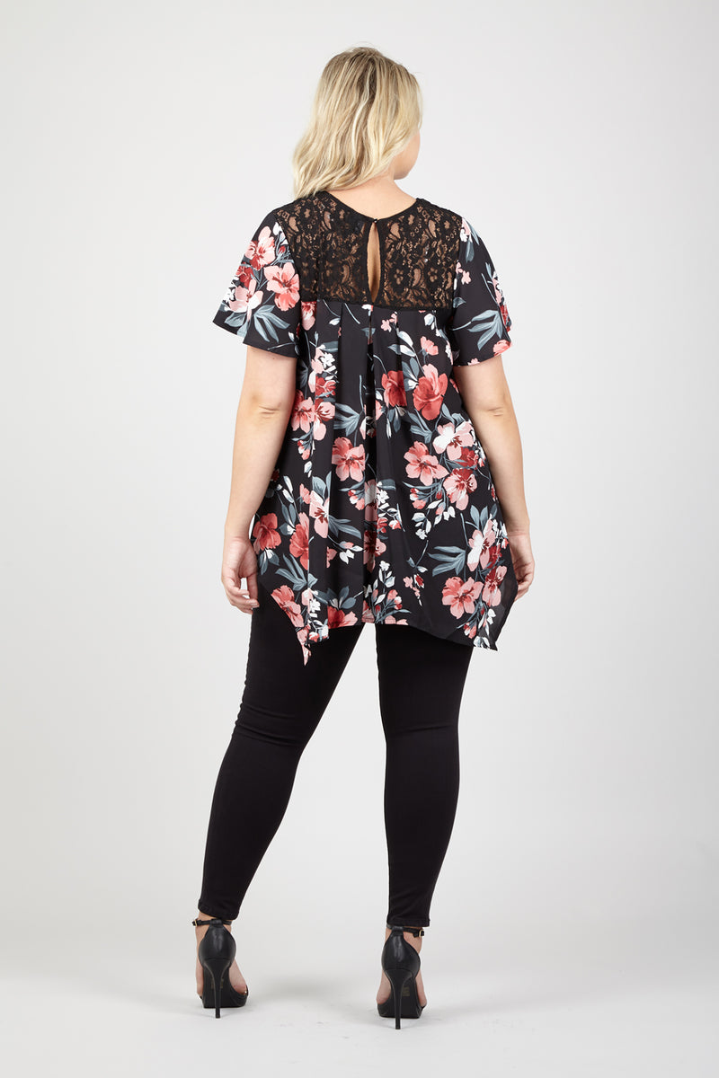 Floral Lace Yoke Blouse - Izabel London