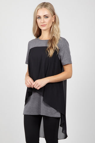 Mesh Tunic Top With Tiered Hem