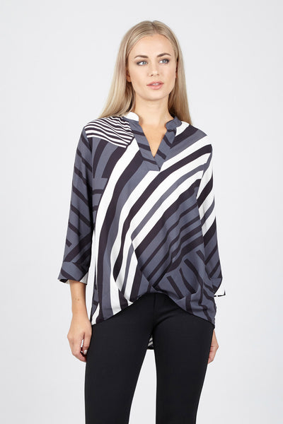 Striped Boxy Shirt - Izabel London