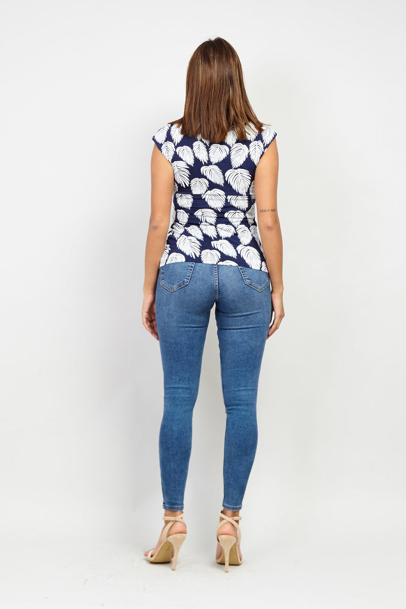 Navy | Leaf Print Pleat Detail Top