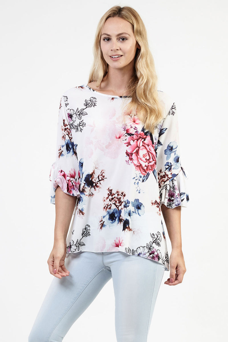 White | Dainty Floral Shell Top