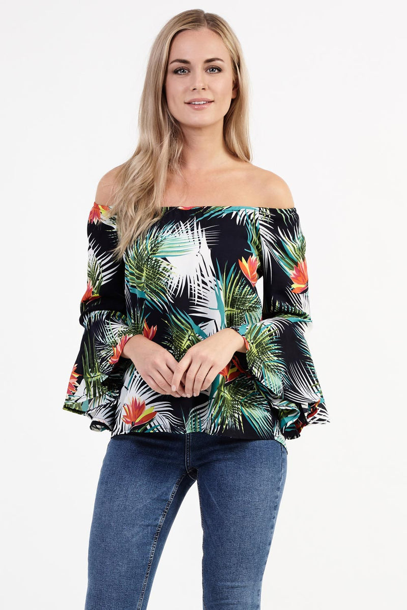 Navy | Tropical Flare Sleeve Top