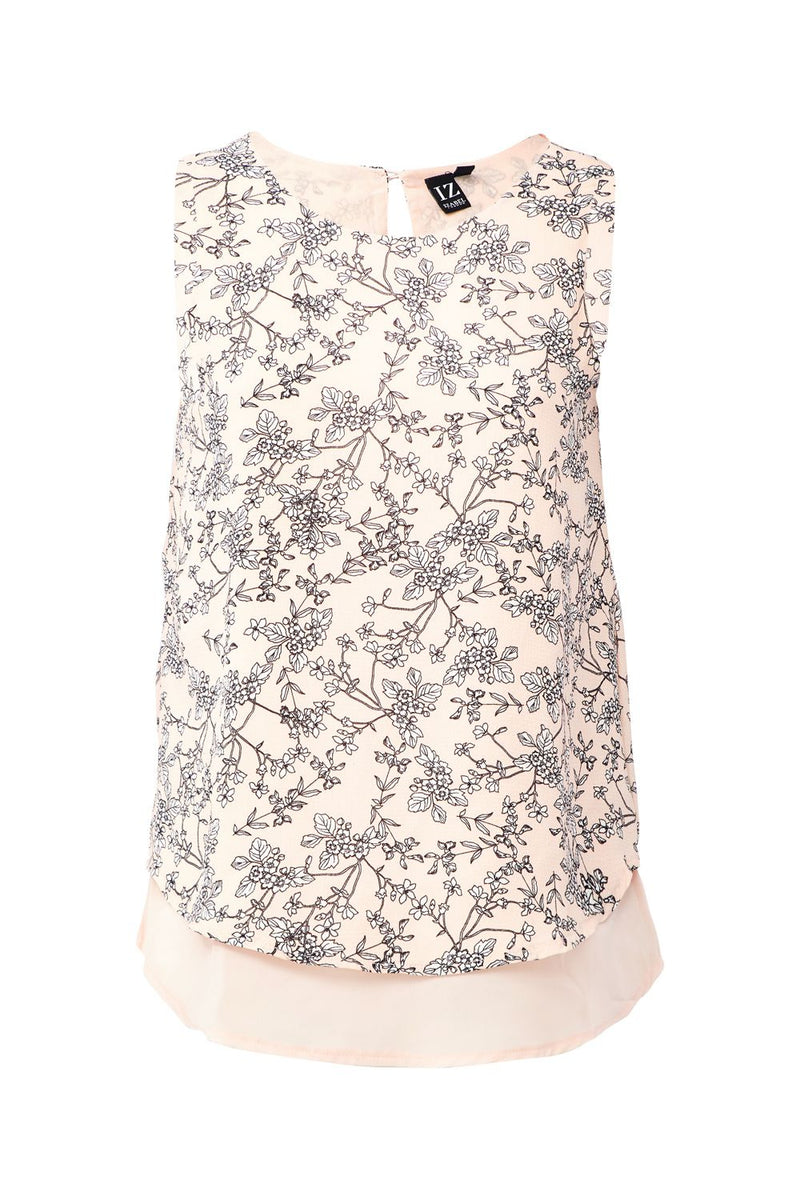 Pink | Floral Print Layered Top