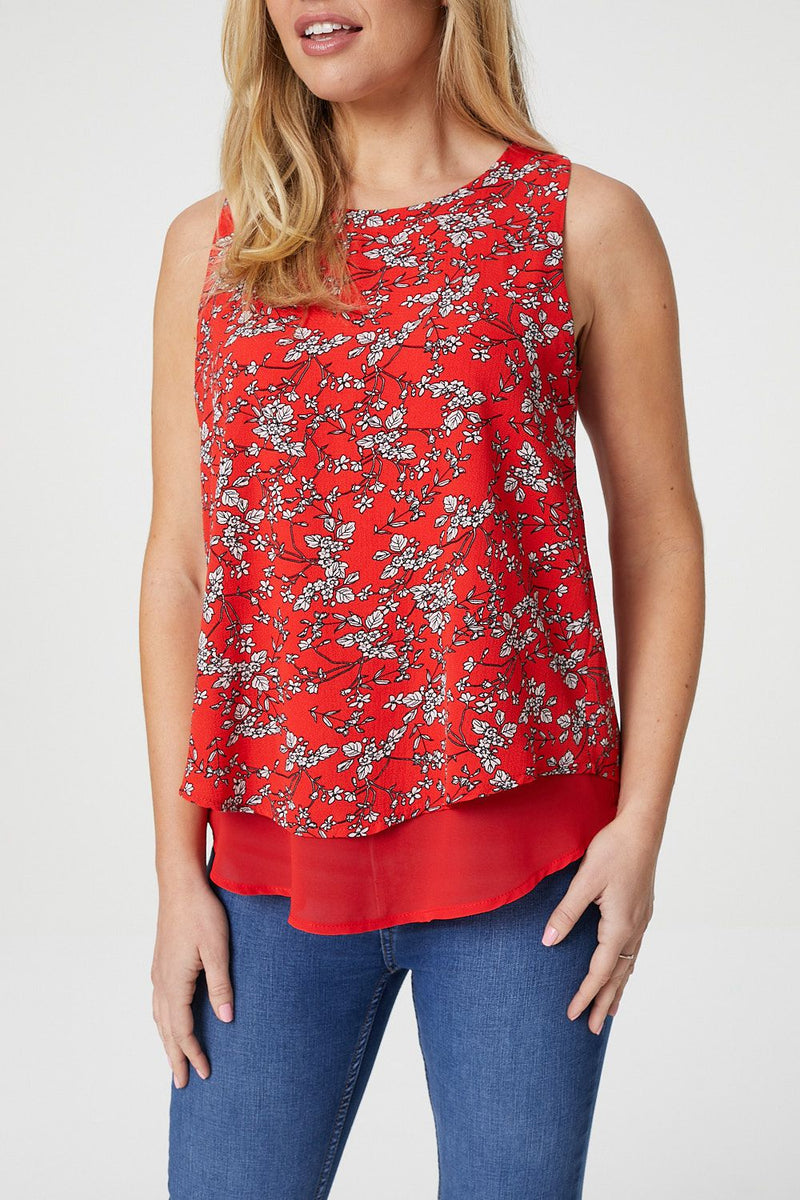Red | Floral Print Layered Top