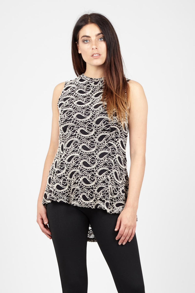 Beige | Paisley Lace Top | Izabel London