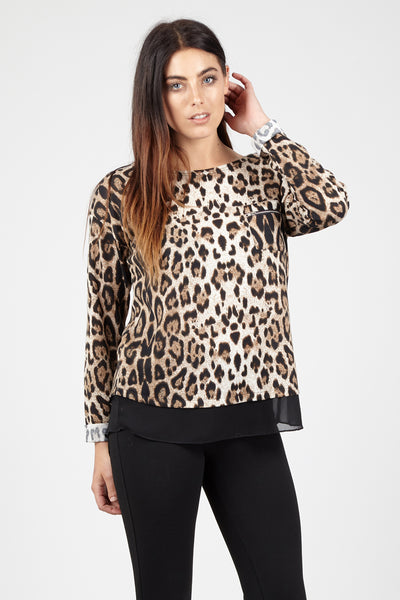 Contrast Hem Leopard Top - Izabel London