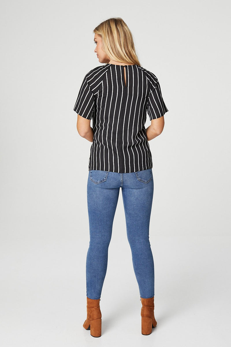 Black | Striped Tie Waist Blouse