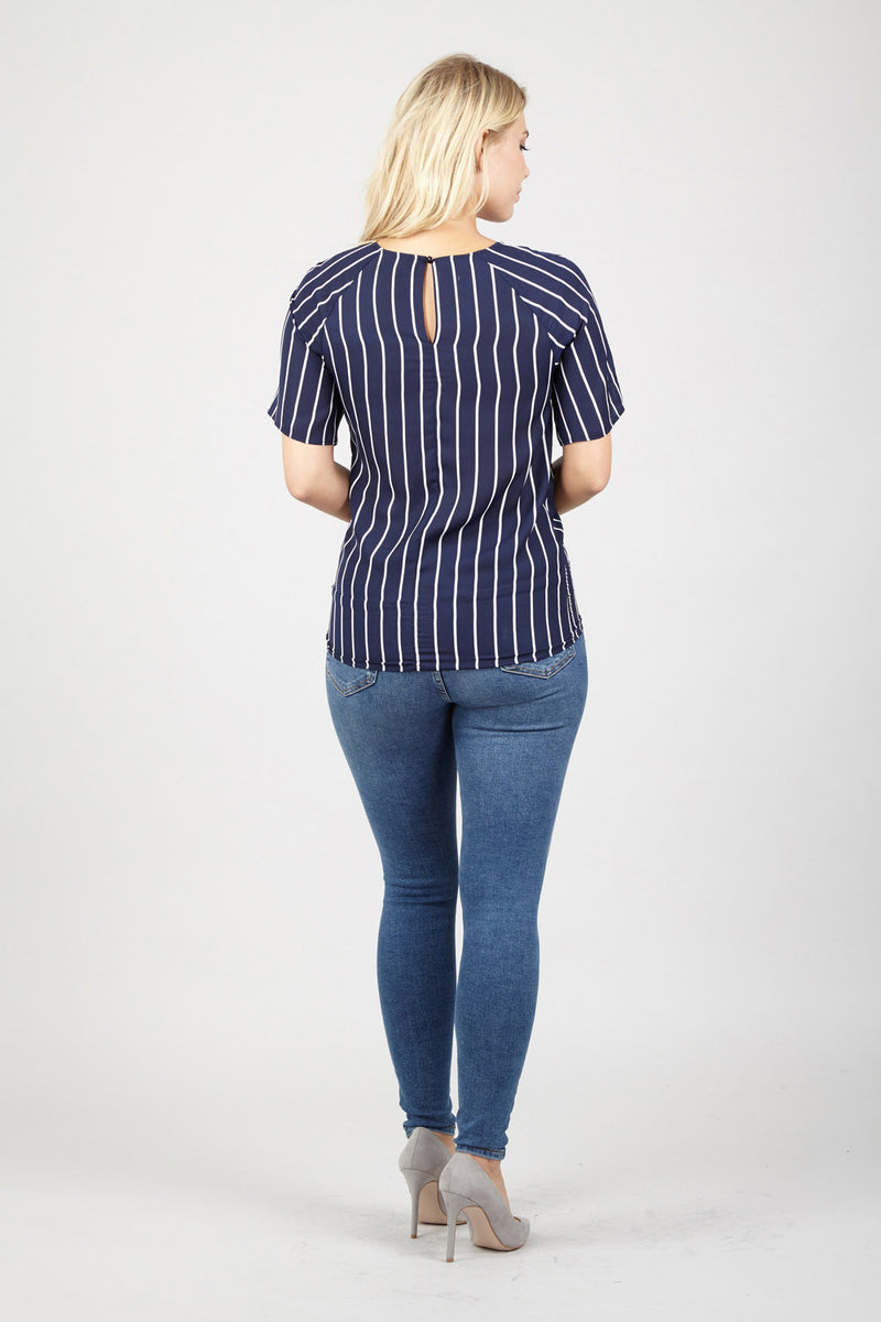 Navy | Striped Tie Waist Blouse