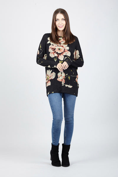 Black | Floral Oversized Jumper