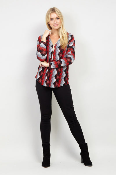 Zip Neck Top - Izabel London