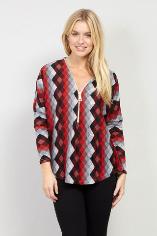 Patterned Handkerchief Hem Top