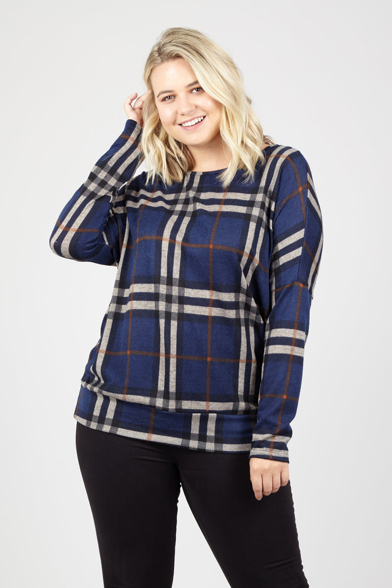 Navy | Curve Checked Knit Top