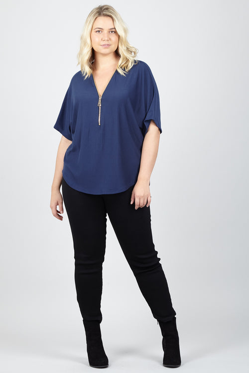 Curve Zip Neck Top - Izabel London