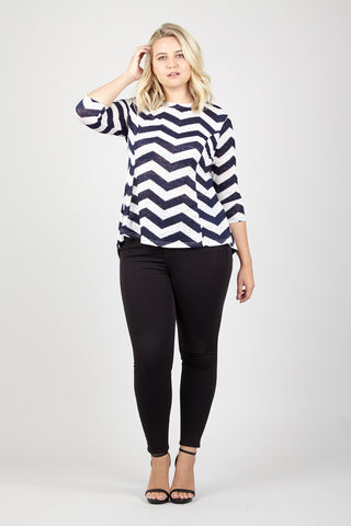 Stripe T-Shirt With Faux Leather Panels