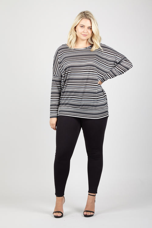 Striped Slouch Top - Izabel London
