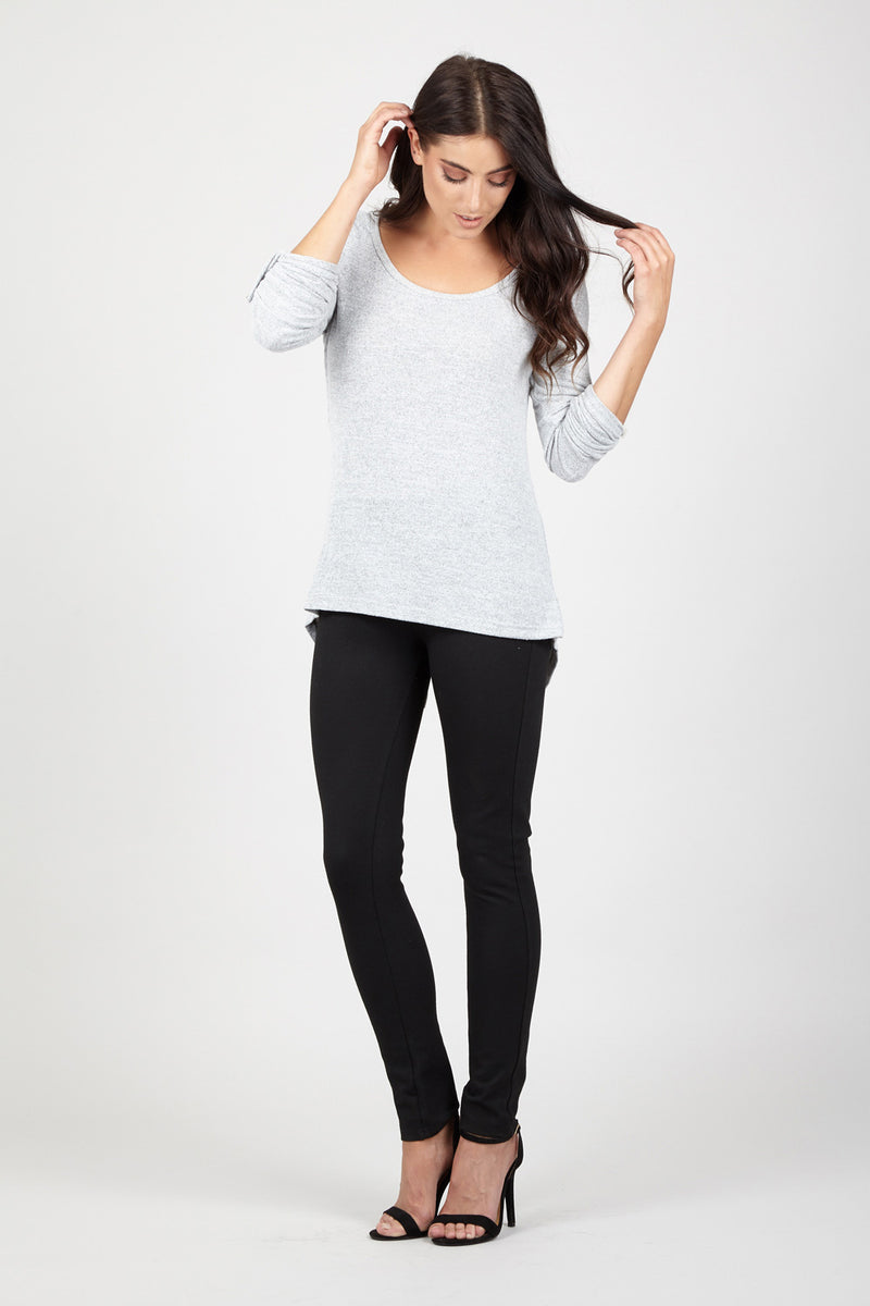 Grey | Marl Floaty Jumper Top | Izabel London