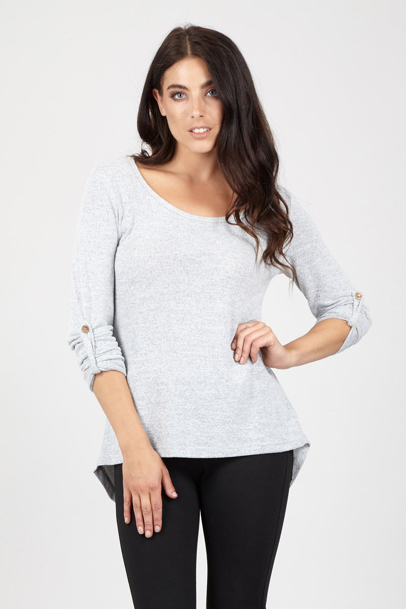 Marl Floaty Jumper Top - Izabel London