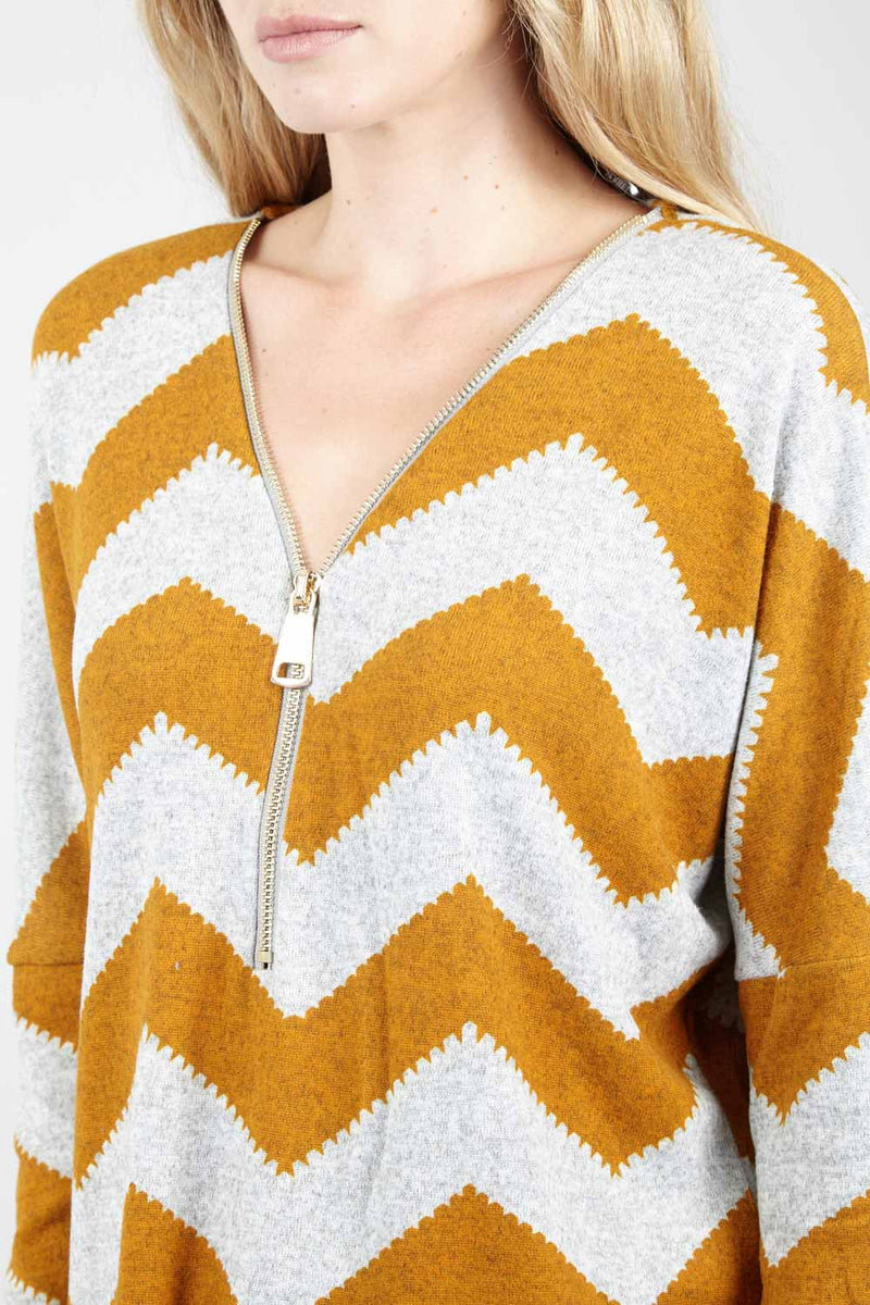 Yellow | Zip Zag Zip Front Jumper