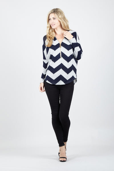 Zip Zag Zip Front Jumper - Izabel London