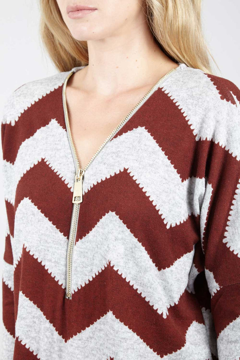 Red | Zip Zag Zip Front Jumper