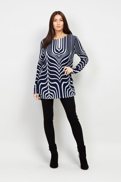 Abstract Print Sweater Top - Izabel London