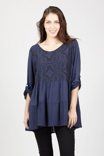 Embroidered Peasant Top - Izabel London