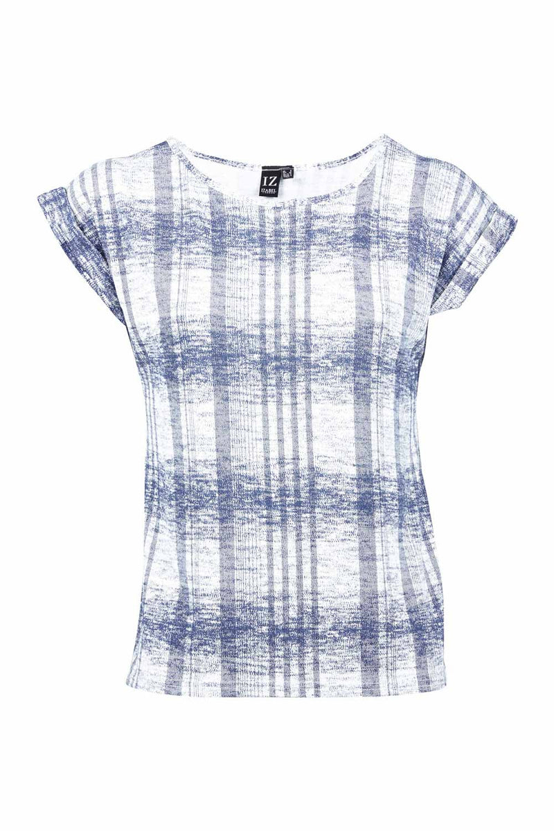 20e34f0e354563 Blurred Check Top - Izabel London