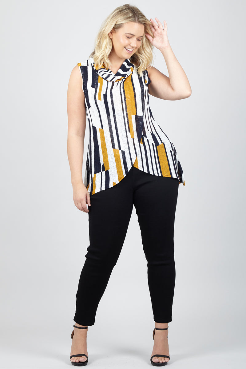 Yellow | Curve Stripe Tunic Top | Izabel London