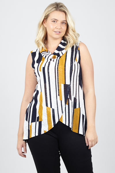 Curve Stripe Tunic Top - Izabel London