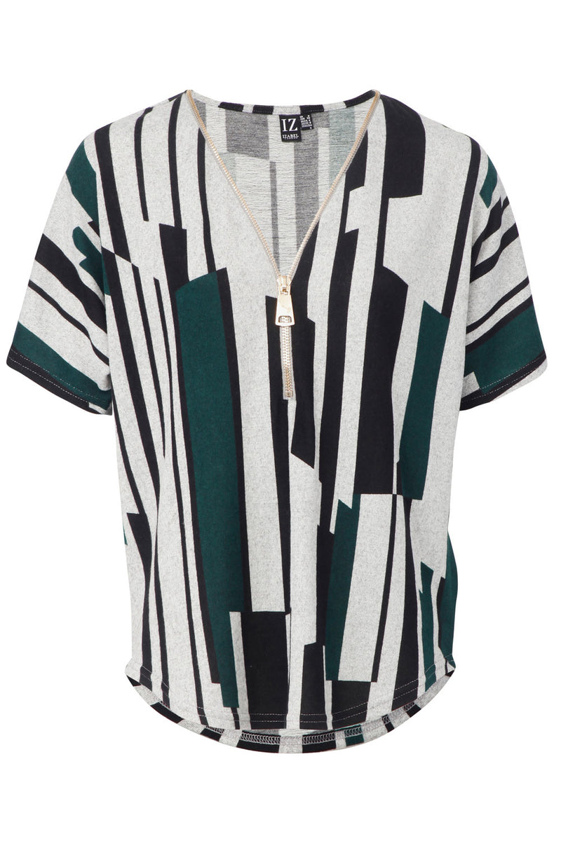Green | Striped Zip Neck Tunic Top