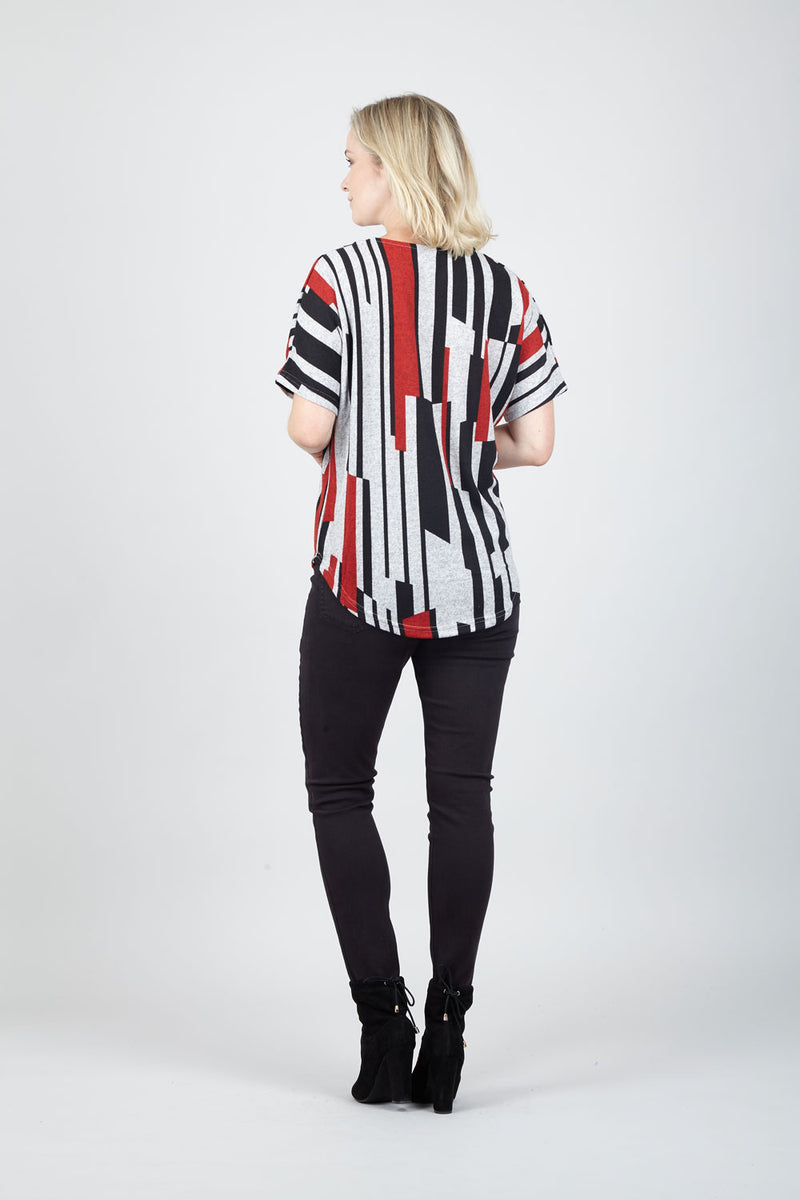 Red | Striped Zip Neck Tunic Top