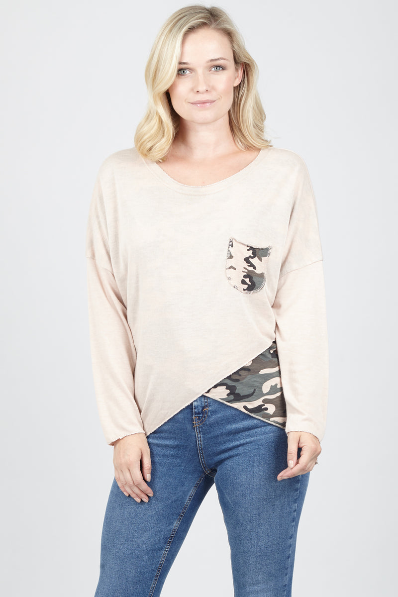 Pink | Layered Camo Sweater | Izabel London
