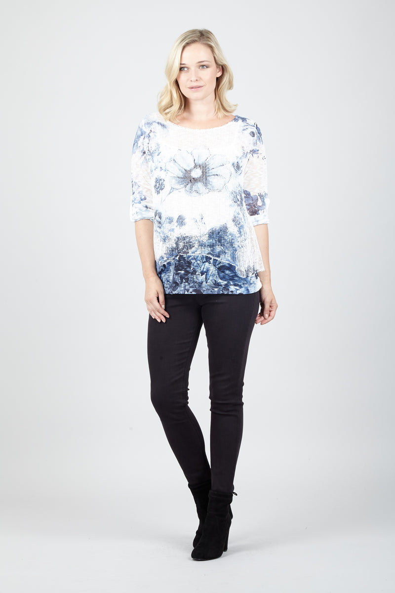 White | Floral Knit Top | Izabel London