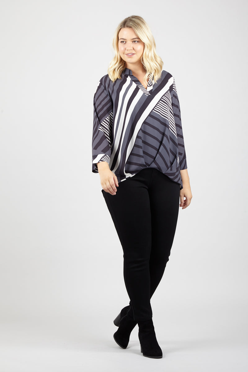 Grey | Curve Striped Blouse | Izabel London