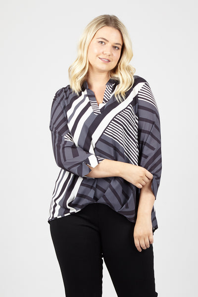 Curve Striped Blouse - Izabel London