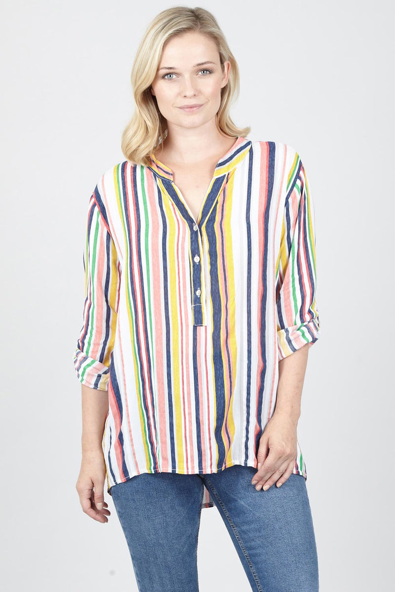 Yellow | Rainbow Stripe Tunic Top