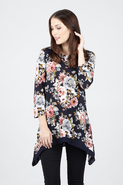 Floral Asymmetric Top - Izabel London