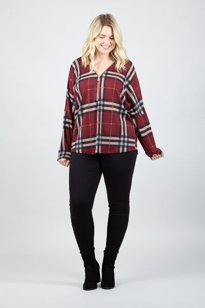 Curve Check Zip Neck Top - Izabel London