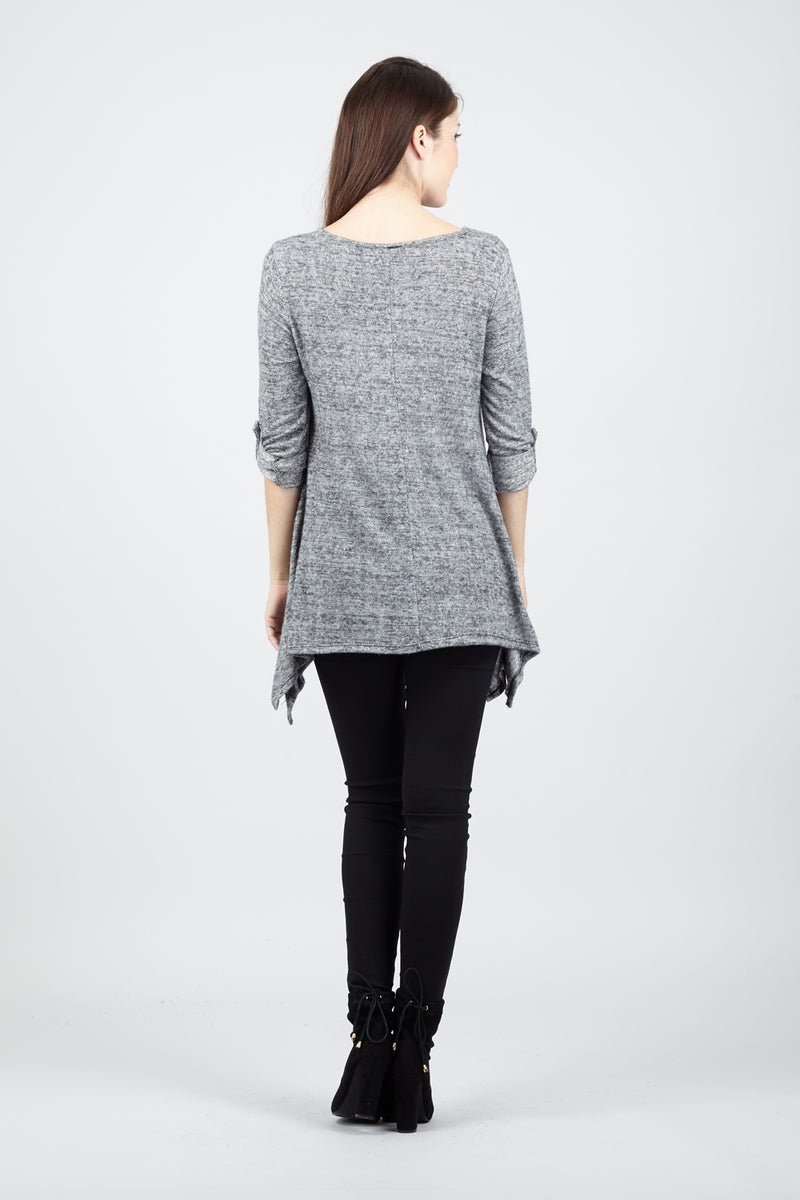 Grey | Hanky Hem Top