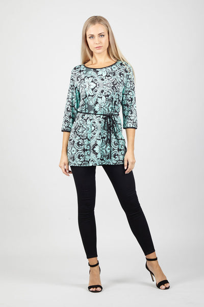 Floral Tie Waist Top - Izabel London