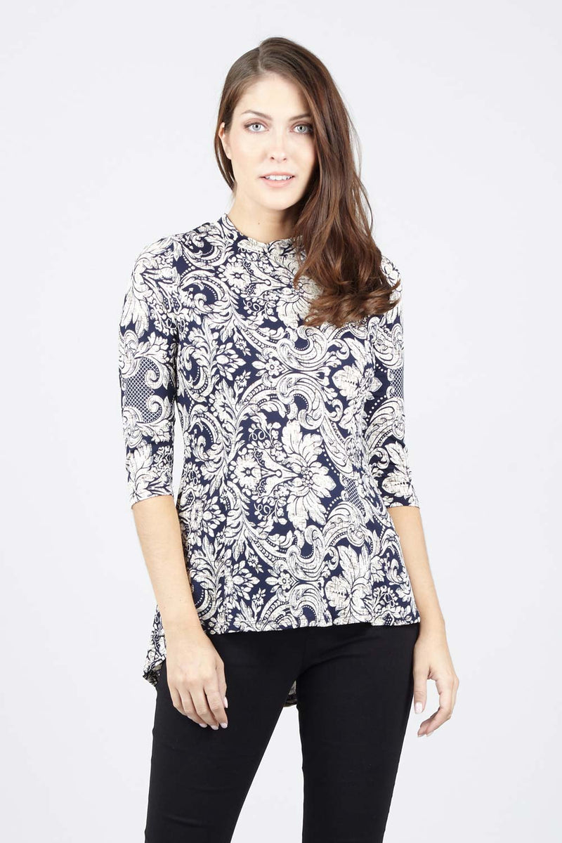 Navy | Damask Peplum Top